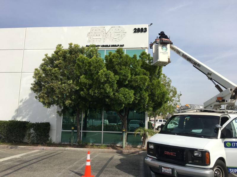 Removing old building signs in Anaheim CA