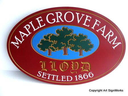 O24870 - Carved Wood Farm Sign with Maple Grove