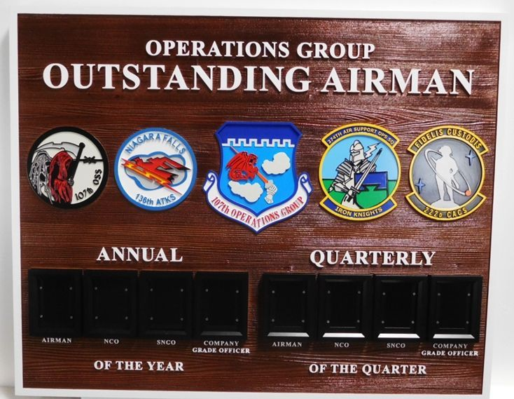 SB1130 -  US Air Force Airman  Award Photo Board for the Operations Group's Outstanding Airman Award , Carved from Western Red Cedar