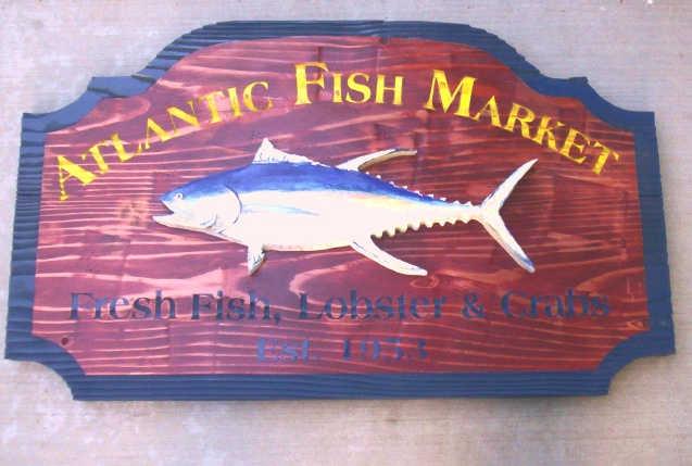 "Q25156 - Rustic Carved Wood Sign for ""Atlantic Fish Market Fresh Fish, Lobster and Crabs,"" 3-D Fish  (See Q25158)"