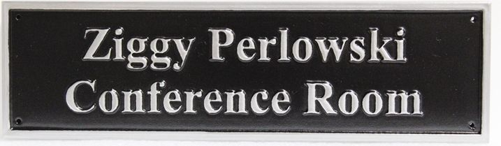 C12124 - Carved and Polished Aluminum-plated  sign for the Ziggy Perlowski Conference Room.