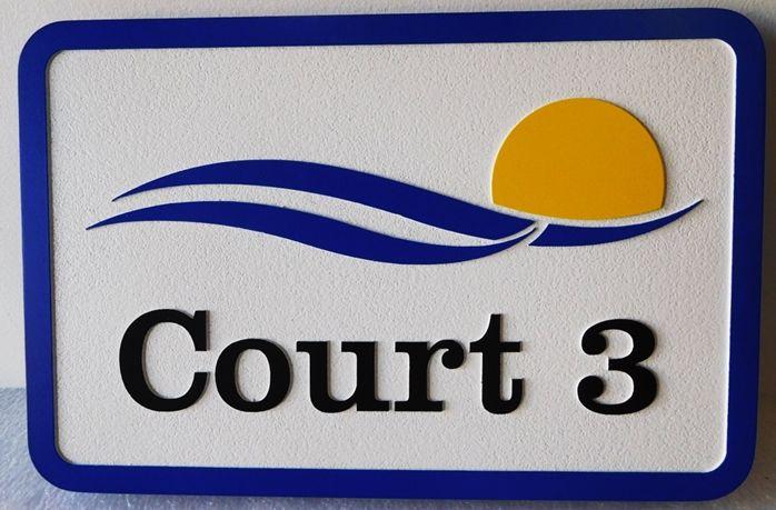 GB16848 - Carved HDU Championship  Tennis Court 3  Sign for the Bonita Bay Club