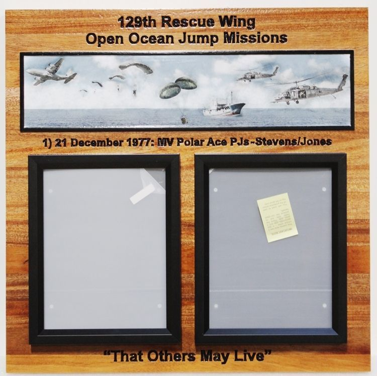 SB1037- Photo Award Plaquefor the 129th Rescue Wing, Open Oceans Jump Missions, US Air Force