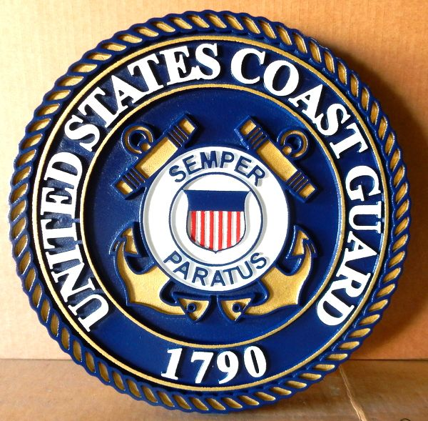 NP-1140 - Carved Plaque of the Great Seal of the US Coast Guard, 2.5-D Outline Relief, Artist Painted