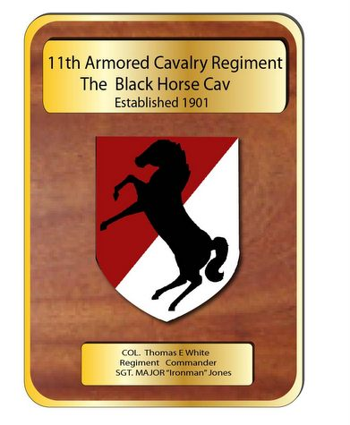 "MP-3460- Engraved Command  Plaque, ""Black Horse Cavalry"" 11th Armored Division,  US Army, Personalized,  Mahogany Wood with Brass Plates"