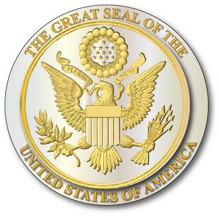 M7382 - Gold and Silver Leaf Gilded 3D Bas Relief Carved HDU Wall Plaque of the Great Seal of the US