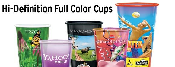 High Definition Reusable Dishwasher Safe Full Color Plastic Cups