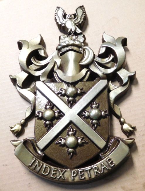SP-1100 - Carved Wall Plaque for College Fraternity Coat-of-Arms / Crest, Artist Painted in Metallic Silver
