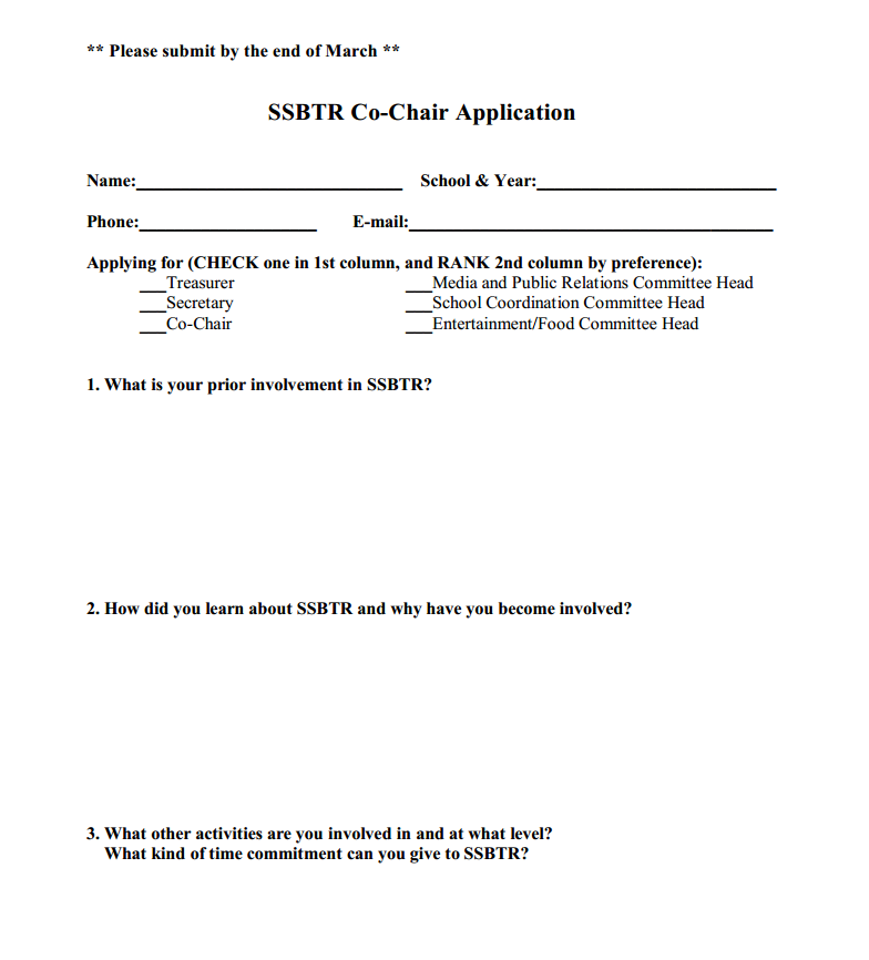 2019-2020 Student Co-Chair Application