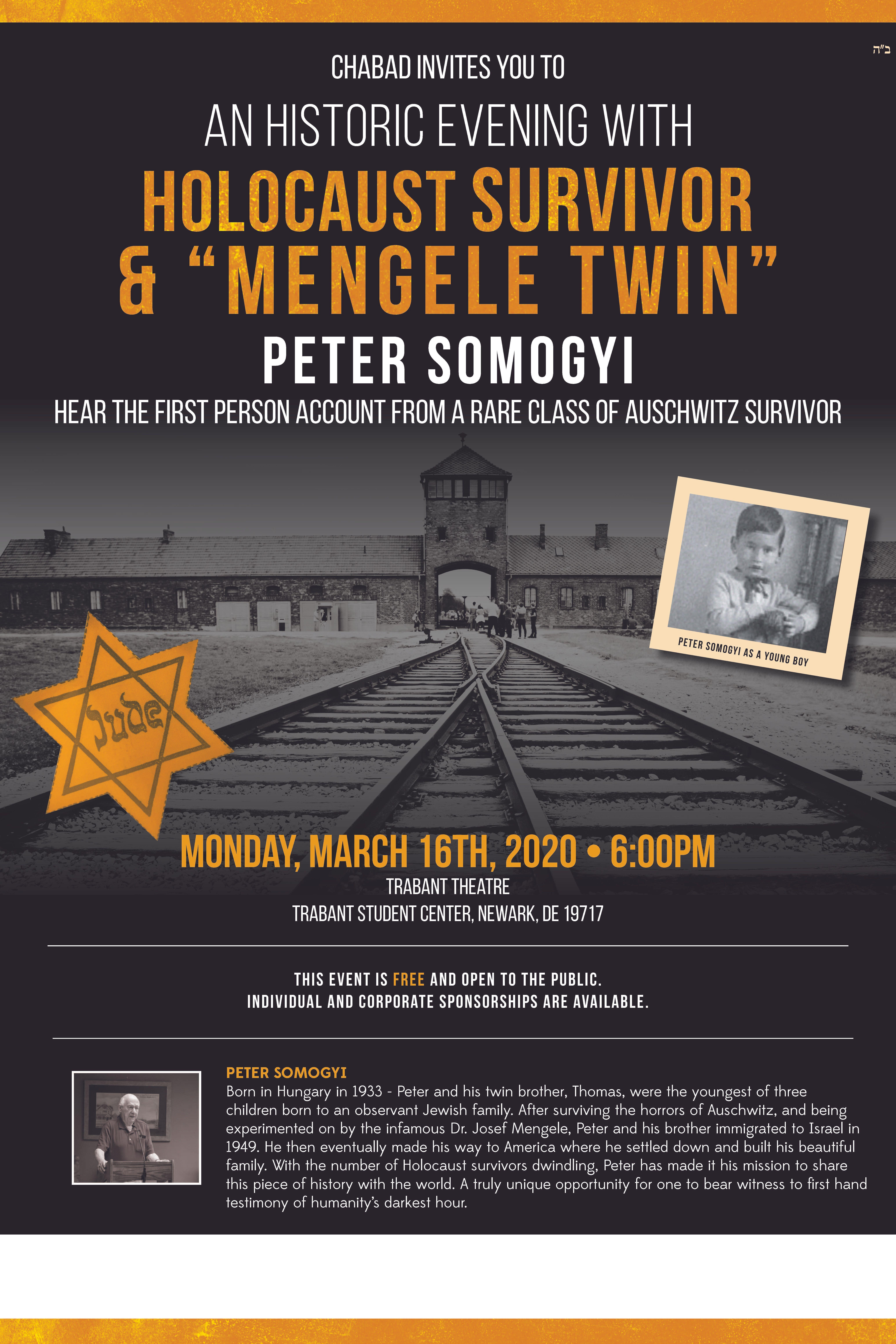 "An Historic Evening with Holocaust Survivor & ""Mengele Twin"" Peter Somogyi"