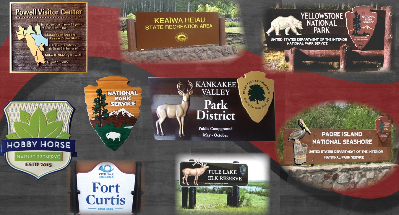 wooden park signs, RV park signs, campgrounds, hiking trails