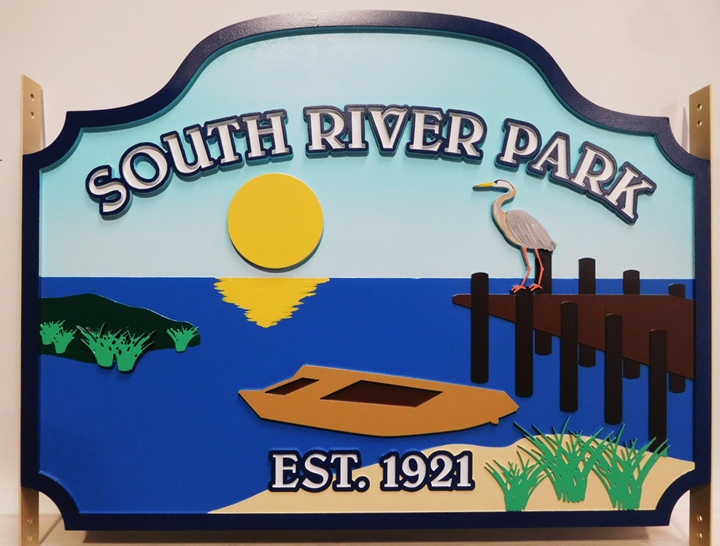 "M22514 - Carved  ""South River Park"" Sign with a Boat , a Dock, a Crane, and the Setting Sun as Artwork"