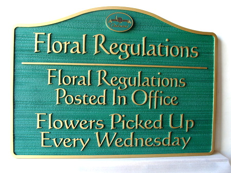 GC16927- Floral Regulations Carved Wood Sign for Cemetery