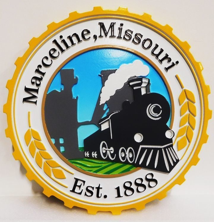 X33246 - Carved 2.5-D HDU Plaque of the Seal of the City of Marcelline, Missouri