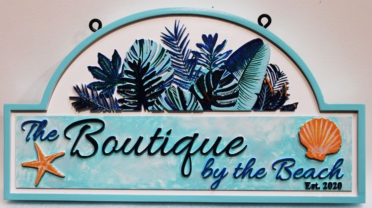 """L21942 - Carved Retail Store Sign for """"The Boutique by the Beach"""",, with  Philodendrum leaves, a Sea Shell, and a Starfish as Artwork"""