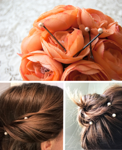Make your own pearl bobby pins with jewelry from Goodwill.