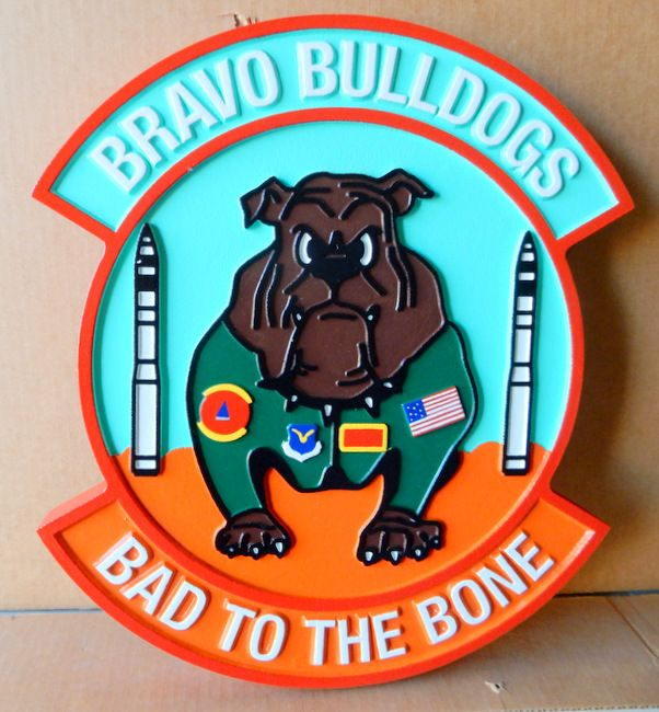 """V31607 - Carved Wall Plaque of the Crest for the """"Bravo Bulldogs"""", US Air Force"""