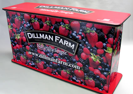 Dillman Farms Event Table - Front View Designed by Midwest Graphics