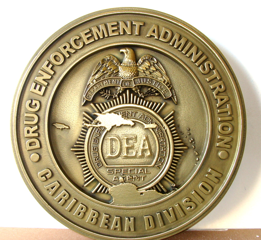 AP-4080 - Carved Plaque of the Seal of the Drug Enforcement Administration (DEA), Caribbean Division, Brass Plated