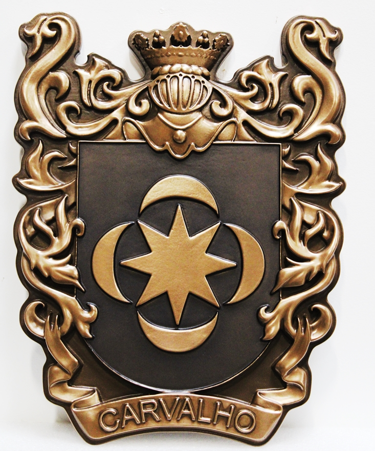 M7022- 3-D Bronze-platedPlaqueof a Family Coat-of-Arms, withCrown, Helmet, and Star & Moon Emblem