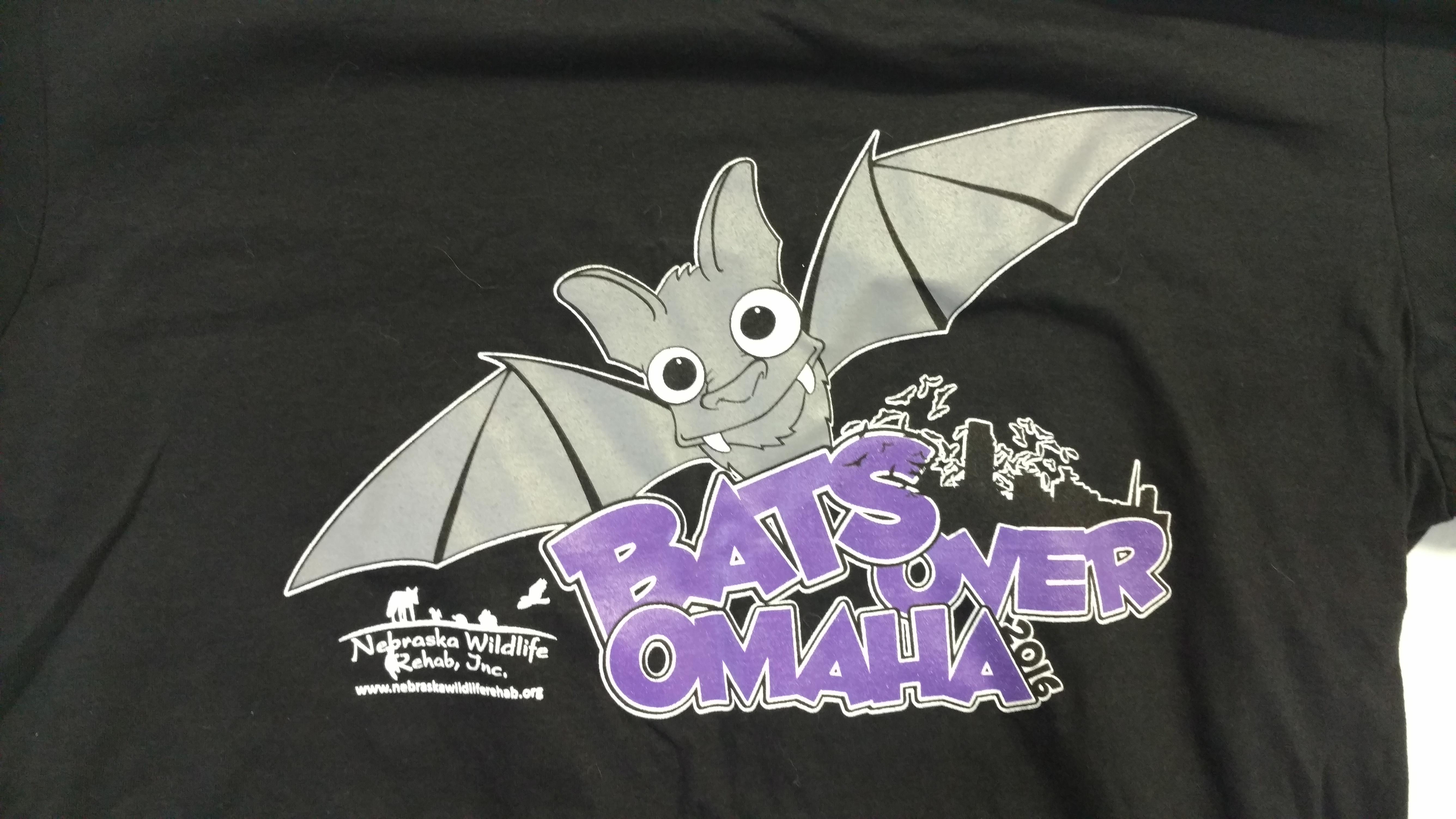 Bats Over Omaha Bat Release T-Shirt - 2016: Adult Large, Black