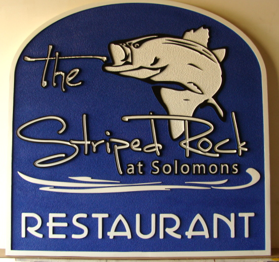 Q25138 - Carved High Density Urethane Sign for Striped Rock Restaurant with Carved Rockfish