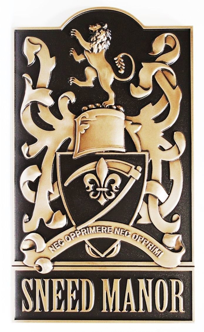 XP-1075 - Carved Plaque of Sneed Manor Coat-of-Arms, with Rampant Lion, Scythe, and Fleur-de-Lis, 3-D Bronze-Coated