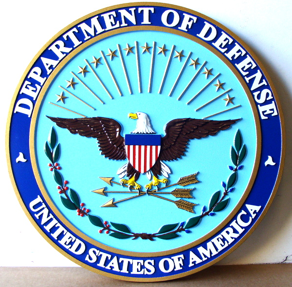 AP-2240 -  Carved Plaque of the Seal of the Department of Defense, Artist Painted