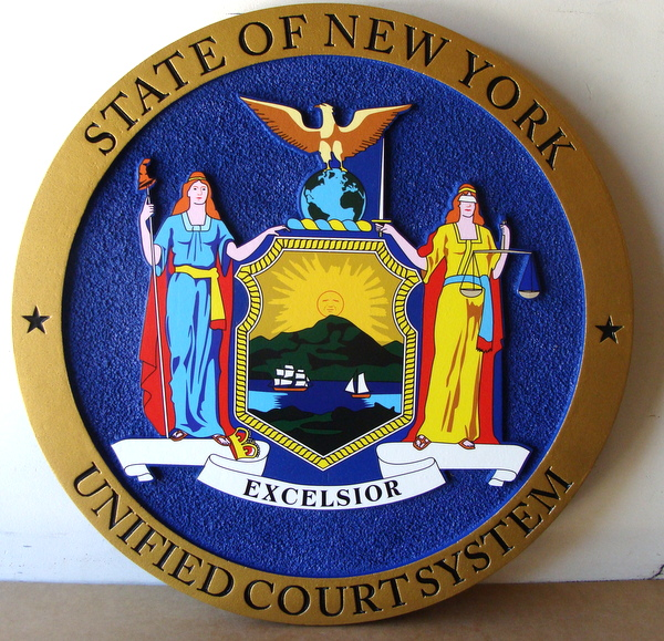 W32371B- Carved HDU Seal of the New York Unified Court System