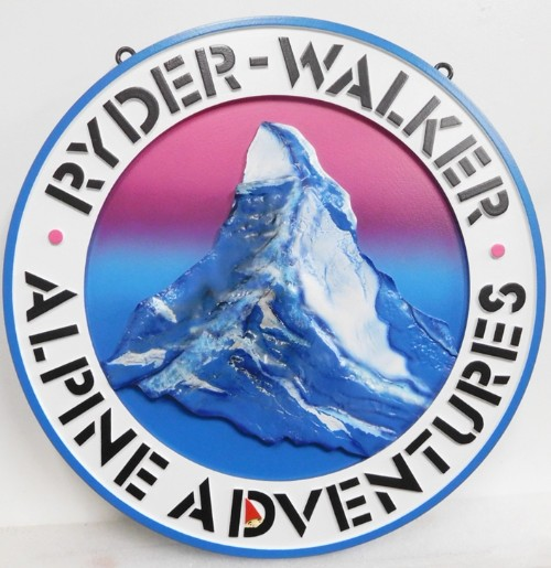 VP-1445 - Carved Plaque of the Logo for Alpine Adventures Logo, 3-D Artist-painted