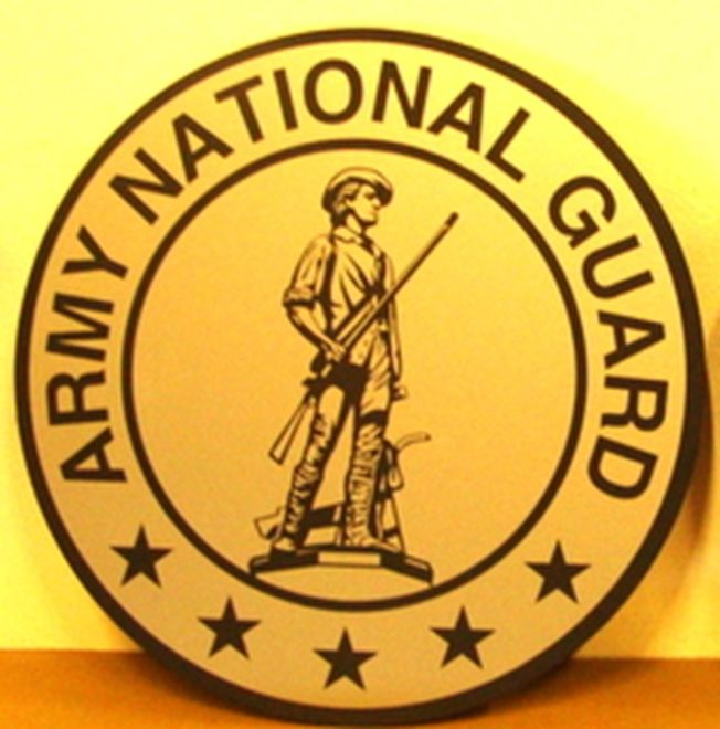MP-1330 - Carved Plaques of the Emblem  of the US Army National Guard,  Artist Painted