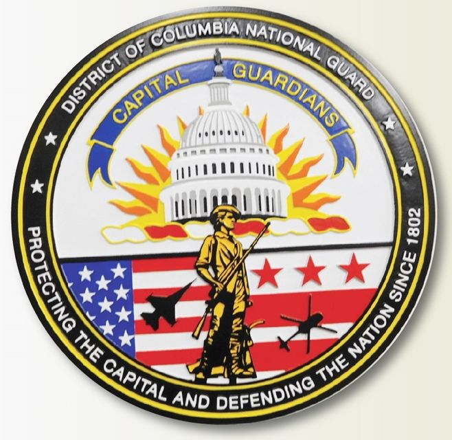 U30118 - Carved 2.5-D HDU  Plaque of  the District of Columbia National Guard Seal