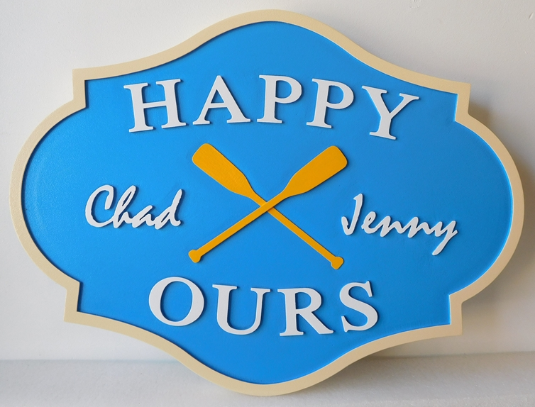 "M22453 - Lake House Property Name Sign ""Happy Ours""  featuring  Two Crossed Canoe Paddles as Artwork"