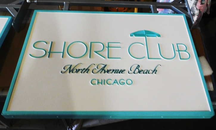 "L21079 - Carved HDU Sign for the ""Shore Club"" on thhe coast in Chicago"