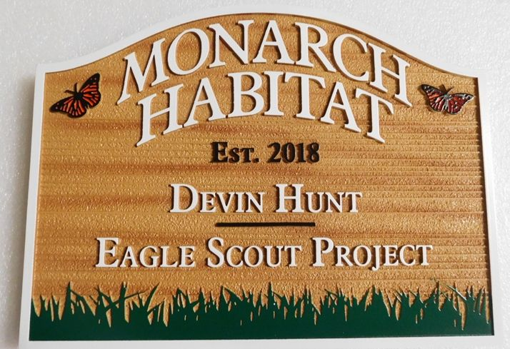 GA16459 - Large Carved and Sandblasted Wood Grain Sign  for the Monarch Habitat, with Butterflkes and Grass as Artwork
