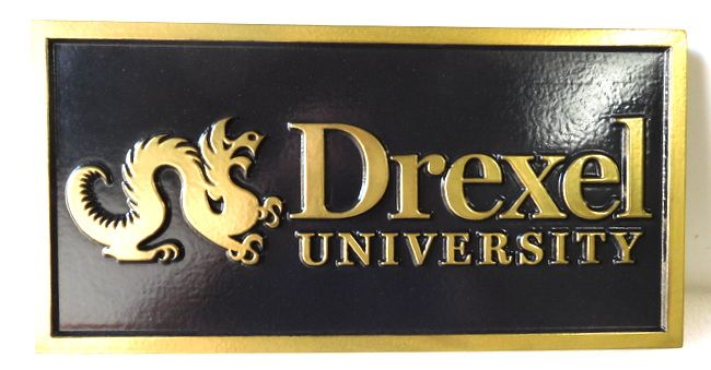 M7168 -  Carved 2.5D Brass Wall Plaque for Drexel University.