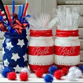 4th of July of mason jars