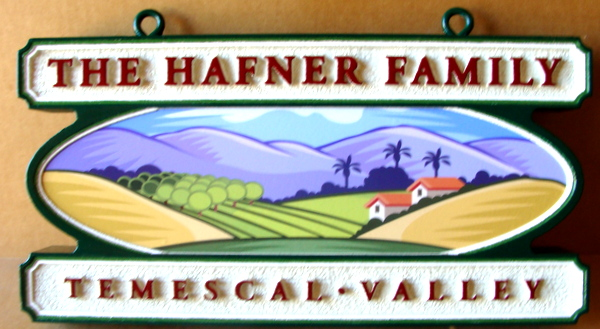 I18751 -Carved and Sandblasted HDU Property Name Sign, with Long-Lasting Digitally Printed Vinyl Decal of Temescal Valley Scene