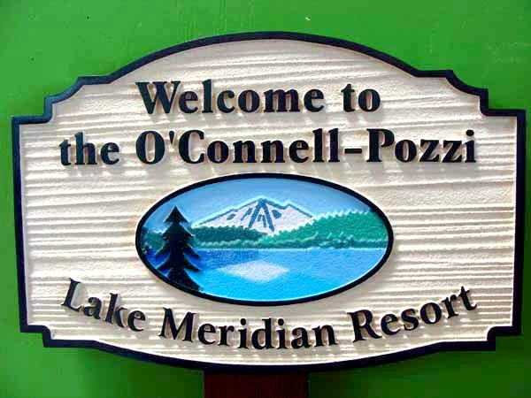 M22320 - Carved and Sandblasted   HDU Sign for Lake Meridian Resort with Mountains, Lake and Trees as Artwork