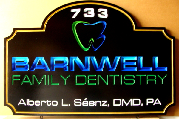 BA11556 -  Engraved 3D HDU Family Dentistry Office Entrance Sign with Engraved Logo of Molar Tooth