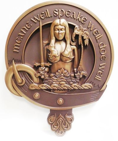 """XP-1070 - Carved Plaque of a Crest with Woman, a Crownand a Swordand the Saying """"Mean Well, Speak Well, Do Well"""", 3D Bronze Plated"""