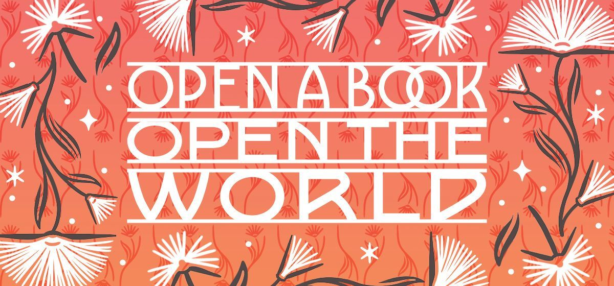 """Library of Congress National Book Festival 2021 logo which states, """"open a book, open the world."""""""