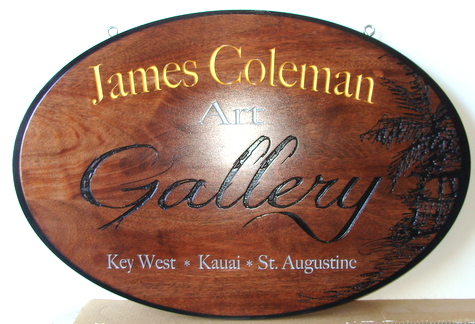 SA28009 - Carved Mahogany Wood Sign with Palm Tree for Art Gallery