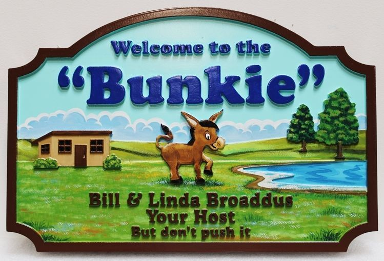 """O24427 - Carved Multi-level raised relief HDU Sign  """"Welcome to the Bunkie"""" , with a Donkey and Farm Scene as Artwork"""