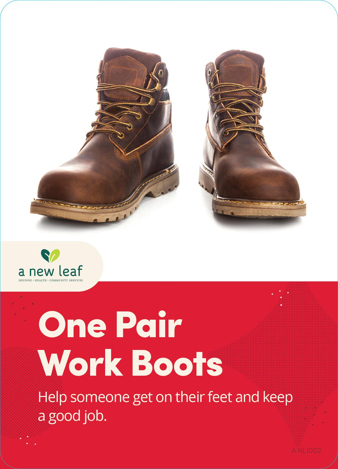 $50 - Work Boots for Homeless Individuals