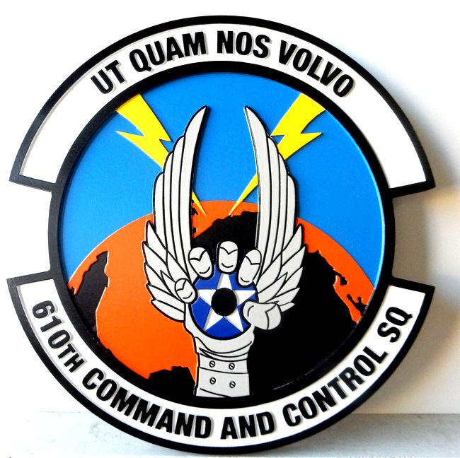 LP-4100 - Carved Round Plaque of the Crest of the 610th Command & Control Squadron, Artist Painted