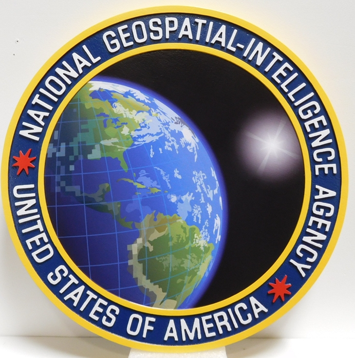 IP-1580 -  Carved Plaque of the Seal of the National Geo-Spatial Intelligence Agency, Artist Painted