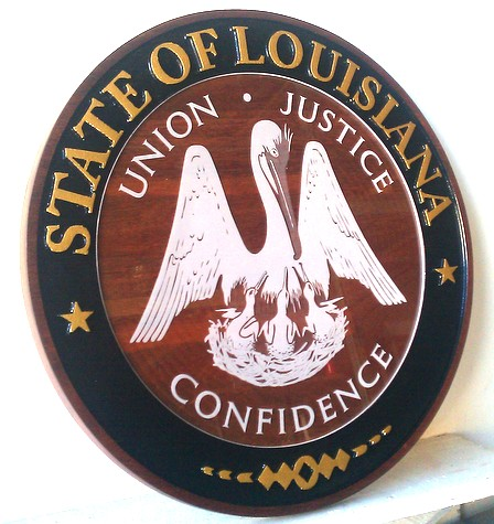 W32232 - Carved Redwood Wall Plaque of the Seal of the State of Louisiana, with Painted White Art and Text