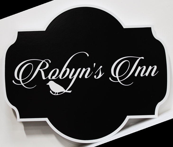 """T29166 -   Carved  """"Robyn's Inn """" Entrance Sign, with Robin as Artwork"""