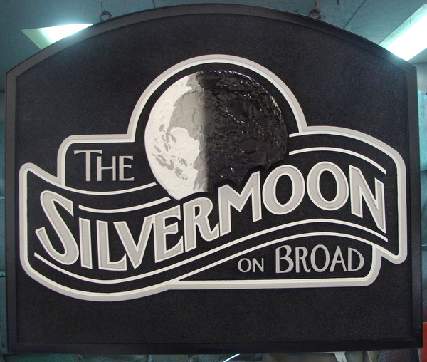 "Q25014 - HDU Restaurant Sign ""Silver Moon on Broad"" with Silver Moon as Artwork"
